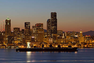 Container Ship On Puget Sound Along Seattle Skyline Poster by Jit Lim