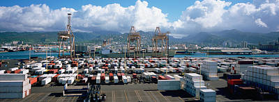 Containers And Cranes At A Harbor Poster