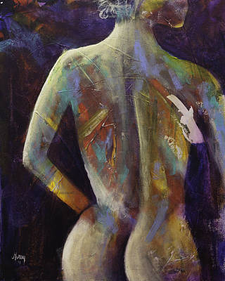 Contemporary Nude Woman Portrait Expressionist Style Poster by Gray  Artus