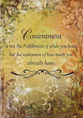 Contentment Inspirational Christian Art Print Poster by Janelle Nichol