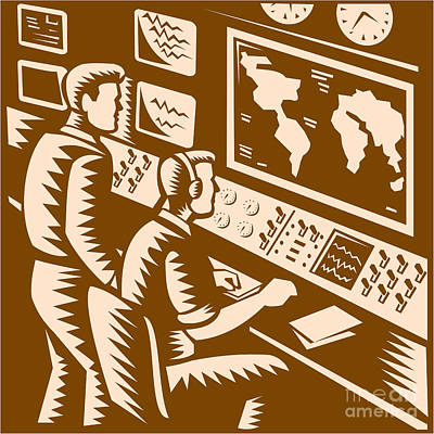 Control Room Command Center Headquarter Woodcut Poster