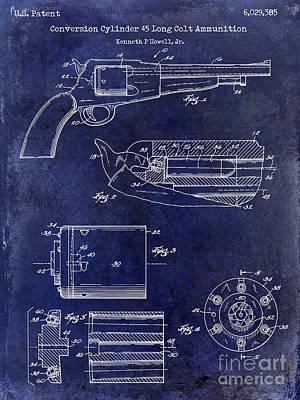 Conversion Cylinder 45 Long Colt Ammunition Blue Poster by Jon Neidert