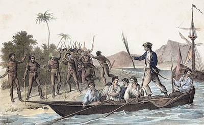 Cook Landing In The New Hebrides Poster
