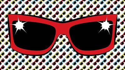 Cool 90's Sunglasses Red Poster by MM Anderson