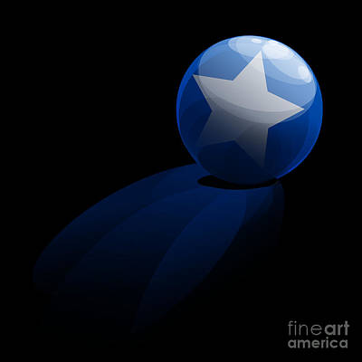 Blue Ball Decorated With Star Grass Black Background Poster by R Muirhead Art