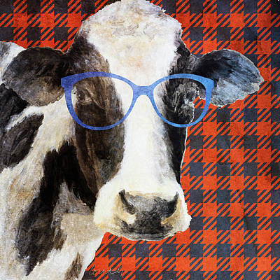 Cool Cow On Pattern Poster by Lanie Loreth