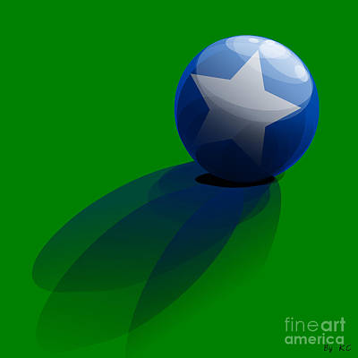 Blue Ball Decorated With Star Grass Green Background Poster by R Muirhead Art