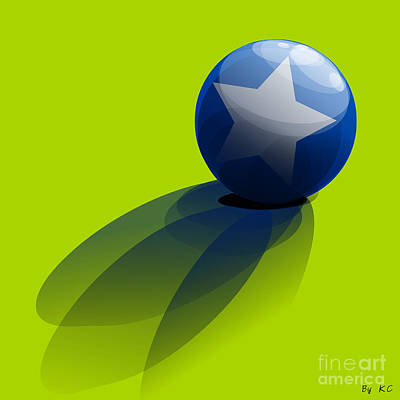 Blue Ball Decorated With Star Green Background Poster by R Muirhead Art