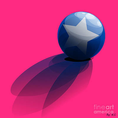 Blue Ball Decorated With Star Pink Background Poster by R Muirhead Art