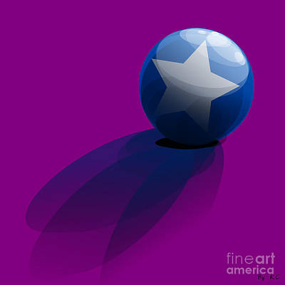Blue Ball Decorated With Star Purple Background Poster by R Muirhead Art