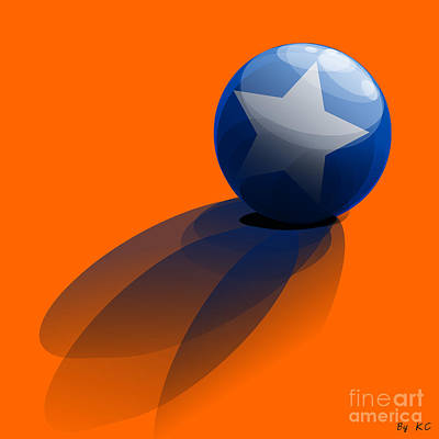 Blue Ball Decorated With Star Orange Background Poster by R Muirhead Art