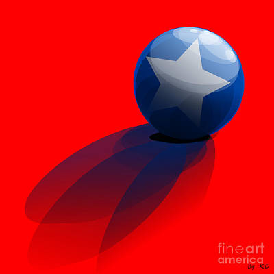 Blue Ball Decorated With Star Red Background Poster by R Muirhead Art