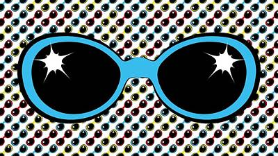 Cool Retro Blue Sunglasses Poster