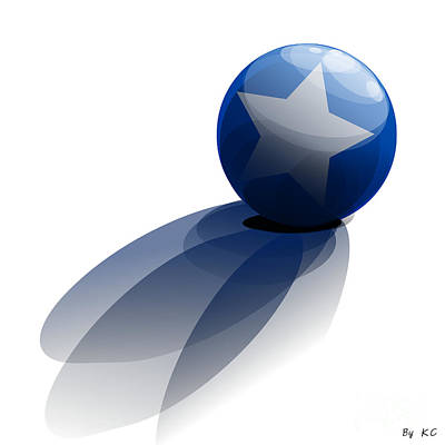 Blue Ball Decorated With Star Grass White Background Poster by R Muirhead Art