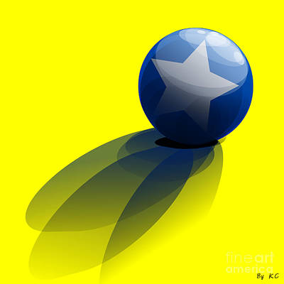 Blue Ball Decorated With Star Yellow Background Poster by R Muirhead Art