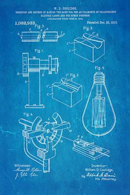 Coolidge Incandescent Lighting Patent Art 1913 Blueprint Poster