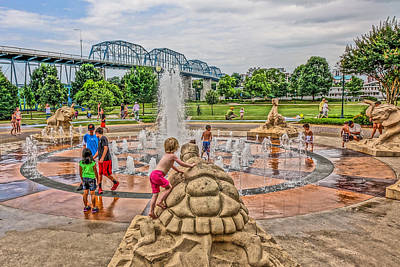 Coolidge Park Fountain  Poster by Tom and Pat Cory
