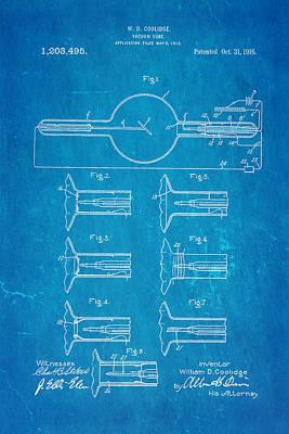 Coolidge X-ray Tube Patent Art 1913 Blueprint Poster