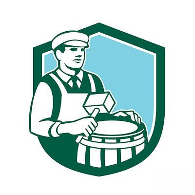 Cooper Barrel Maker Drum Retro Shield Poster