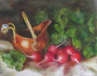 Poster featuring the painting Copper Pot And Radishes Still Life Painting by Cheri Wollenberg