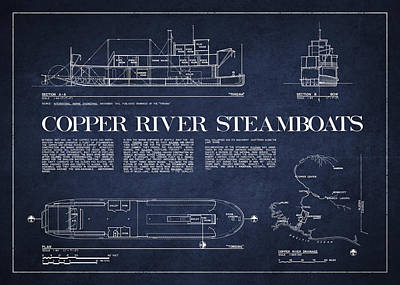 Copper River Steamboats Blueprint Poster by Aged Pixel
