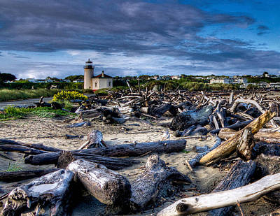 Coquille River Lighthouse And Driftwood Poster