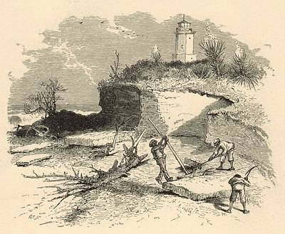 Coquina Quarry And St. Augustine Lighthouse 1872 Engraving Poster by Antique Engravings