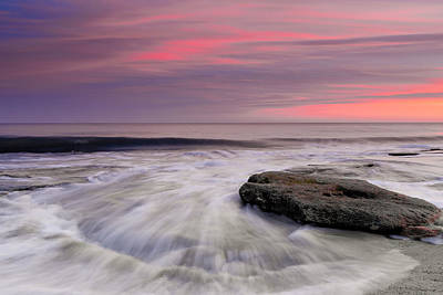 Coquina Rocks Washed By Ocean Waves At Colorful Sunset Poster