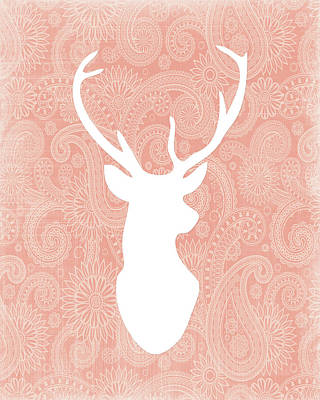 Coral And White Deer Head Poster by Tara Moss