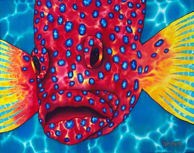 Coral Grouper Poster by Daniel Jean-Baptiste