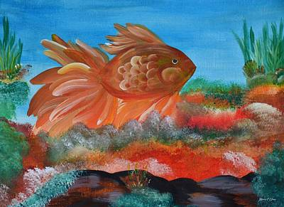 Coral Land Goldfish Poster by Maria Urso