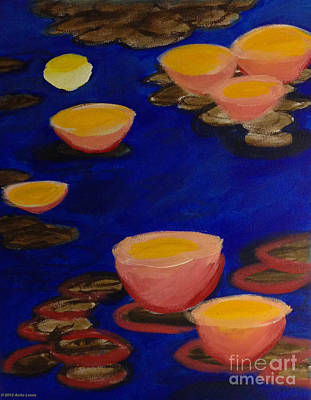 Poster featuring the painting Coral Lily Pond by Anita Lewis
