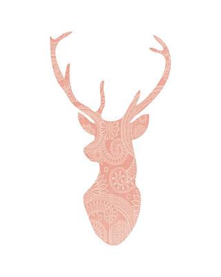 Coral Pattern Deer Head Poster by Tara Moss
