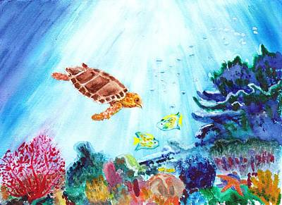 Poster featuring the painting Coral Reef by Donna Walsh