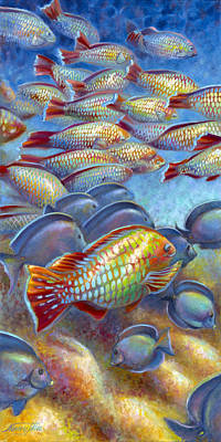 Poster featuring the painting Coral Reef Life I by Nancy Tilles