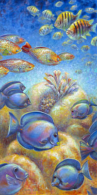 Poster featuring the painting Coral Reef Life II by Nancy Tilles