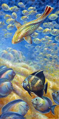 Poster featuring the painting Coral Reef Life IIi by Nancy Tilles