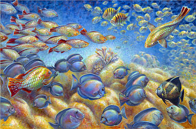 Poster featuring the painting Coral Reef Life by Nancy Tilles