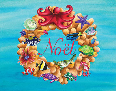 Coral Wreath Noel Poster by Carolyn Steele