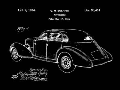Cord Automobile Patent 1934 - Black Poster by Stephen Younts