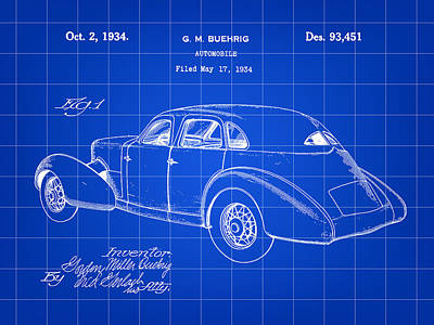 Cord Automobile Patent 1934 - Blue Poster by Stephen Younts
