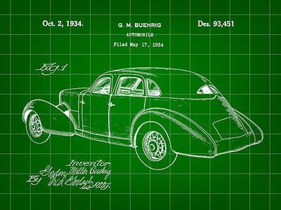 Cord Automobile Patent 1934 - Green Poster by Stephen Younts