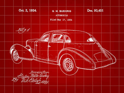 Cord Automobile Patent 1934 - Red Poster by Stephen Younts