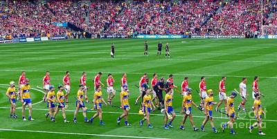 Cork And Clare Hurling Teams At Croke Park Poster by Patrick Dinneen