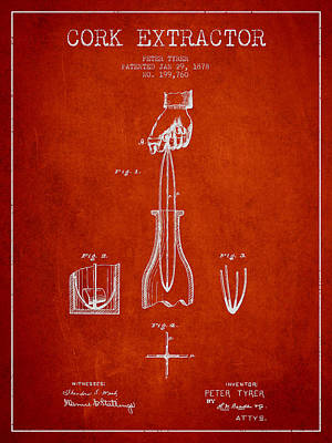 Cork Extractor Patent Drawing From 1878 - Red Poster by Aged Pixel