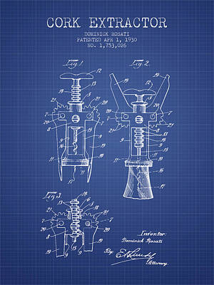 Cork Extractor Patent From 1930- Blueprint Poster by Aged Pixel