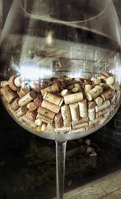 Corks In Wine Glass Poster