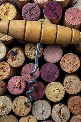 Corkscrew On Top Of Wine Corks Poster
