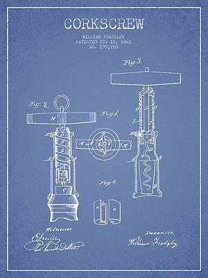 Corkscrew Patent Drawing From 1862 -light Blue Poster by Aged Pixel