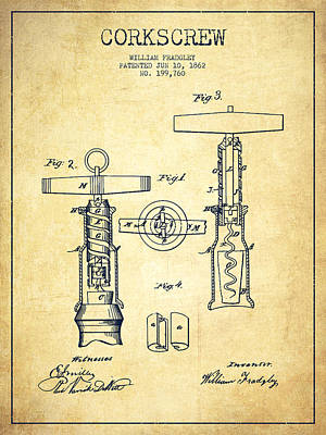 Corkscrew Patent Drawing From 1862 -vintage Poster by Aged Pixel
